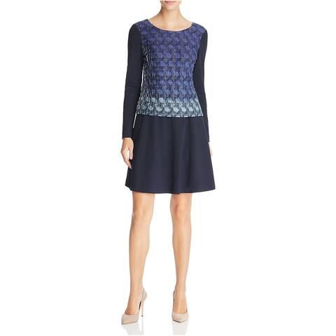 Finity Womens Pintucked Shift Dress, Blue, 8