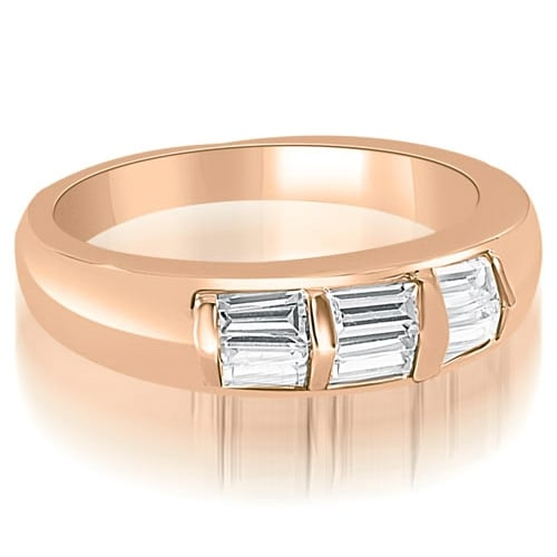 0.70 cttw. 14K Rose Gold Bar Set Baguette Diamond Wedding Band