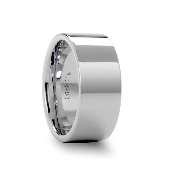 THORSTEN - SHELTON 10 mm Flat White Tungsten Wedding Band with Polished Finish