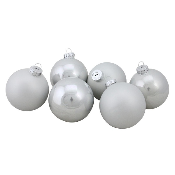 "6-Piece Shiny and Matte White Glass Ball Christmas Ornament Set 3.25"" (80mm)"