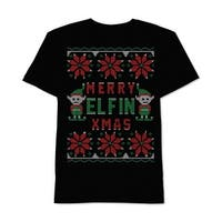 Jem Black Mens Large L  Merry Elfin Xmas Graphic-Print T-Shirt