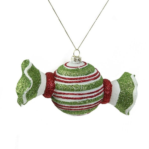 "5"" Merry & Bright Green, Red and White Glitter Striped Shatterproof Christmas Candy Ornament"