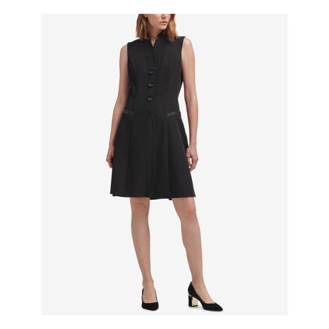 DKNY Womens Black Faux Leather Tuxedo Sleeveless Collared Above The Knee A-Line Wear To Work Dress Size: 14