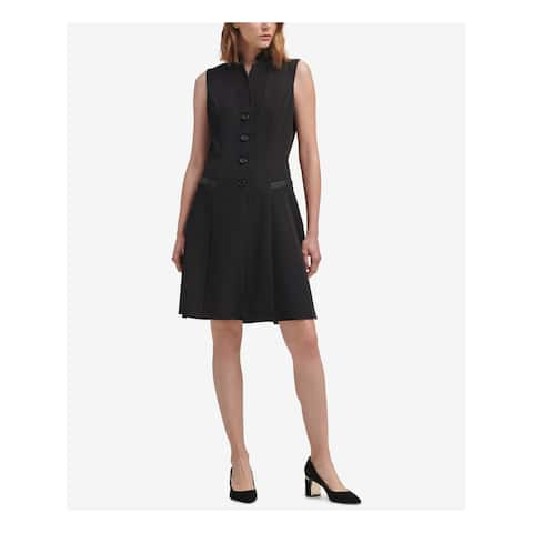 DKNY Womens Black Tuxedo Sleeveless Collared Above The Knee A-Line Wear To Work Dress Size: 12