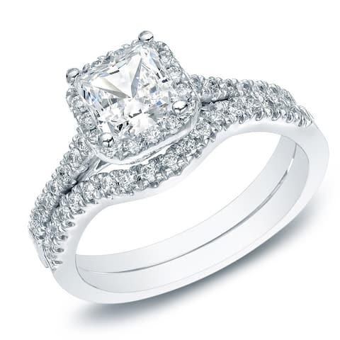 Auriya 14k Gold 1 1/5ctw Princess-cut Diamond Halo Engagement Ring Bridal Set