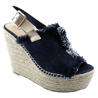 Penny Loves Kenny Women's Notch Platform Wedge Sandal Black Denim Fabric