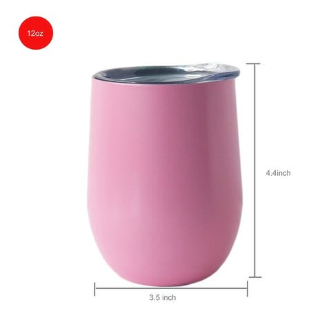 12 OZ Stainless Steel Vacuum Insulated Double Wall Wine Tumbler with Lid Hot for 6 Hours Cold for 12 Hours Pink