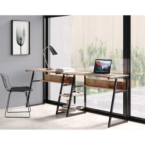 FITUEYES Double Computer Desk, Extra Long Two Person Desk with Storage Shelves
