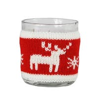 "3.25"" Red and White Knitted Reindeer Design Votive Christmas Candle Holder"