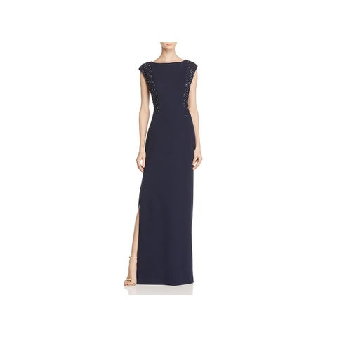 Aidan Mattox Twilight Blue Womens Evening Dress Matte Jersey Sequined