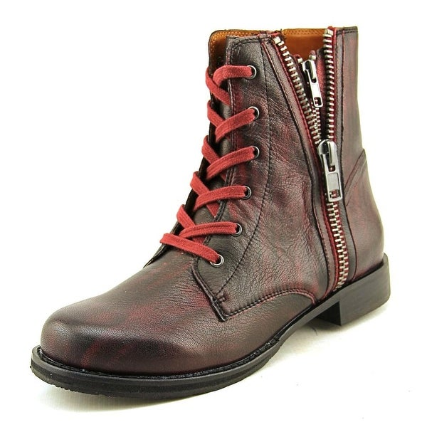Mia Heritage Fatina Women Round Toe Leather Burgundy Ankle Boot