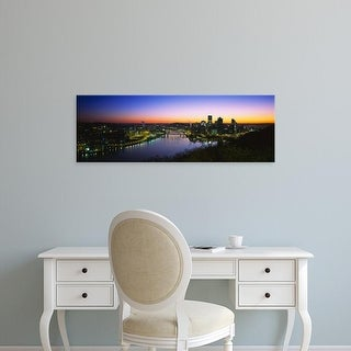 Easy Art Prints Panoramic Images's 'Buildings lit up at dawn, Pittsburgh, Pennsylvania, USA' Premium Canvas Art