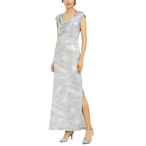 Connected Women's Cowlneck Metallic Slit Gown Silver Size 10