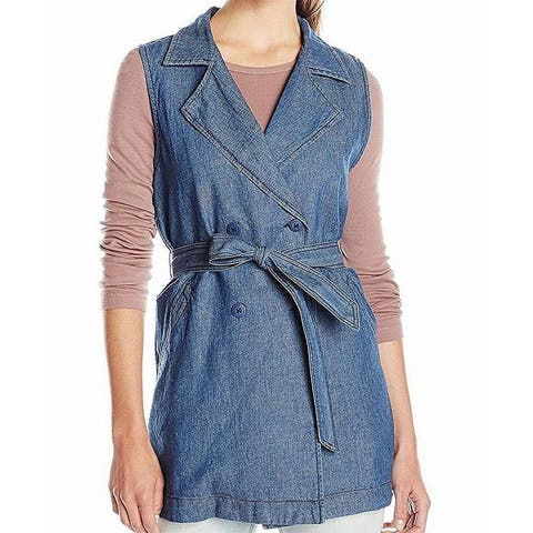 Sanctuary Women's Belted Denim Walker Vest Jacket