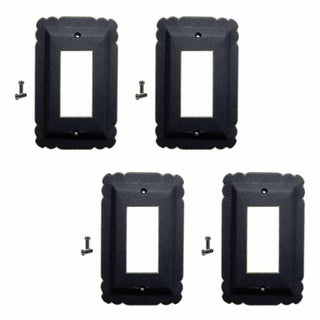 4 Switchplate Black Steel SIngle GFI RSF