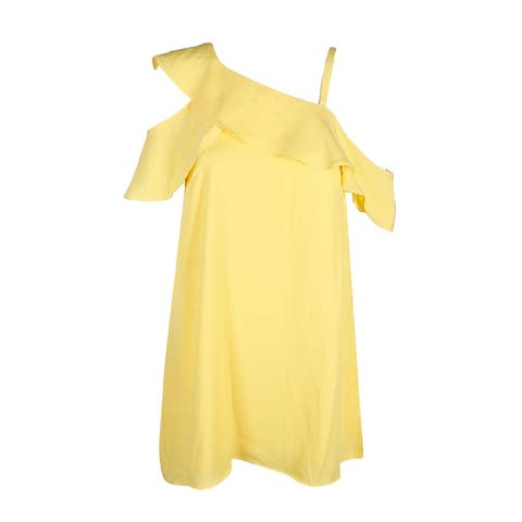 Rachel Rachel Roy Yellow One Shoulder Flounce A-Line Dres 2