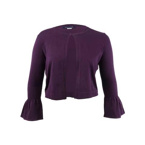 Tommy Hilfiger Women's Bell-Sleeve Crop Cardigan (L, Aubergine) - Aubergine - L