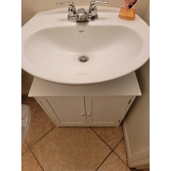 Homcom 24 Pedestal Sink Bathroom Vanity Cabinet White Overstock 27565221