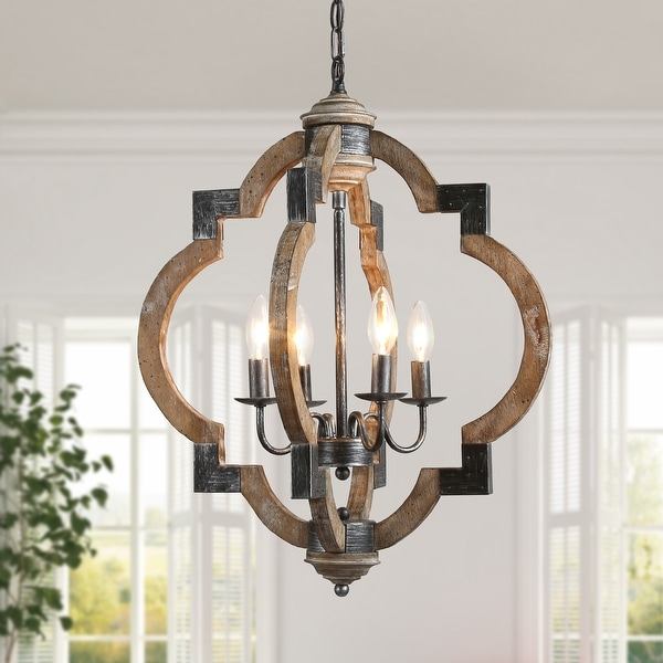 Farmhouse 3/4-lights Distressed Wood Chandelier Candle Foyer Pendant Lighting for Dining Room. Opens flyout.