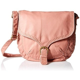 T-Shirt & Jeans Womens Faux Leather Adjustable Crossbody Handbag - Blush - Medium