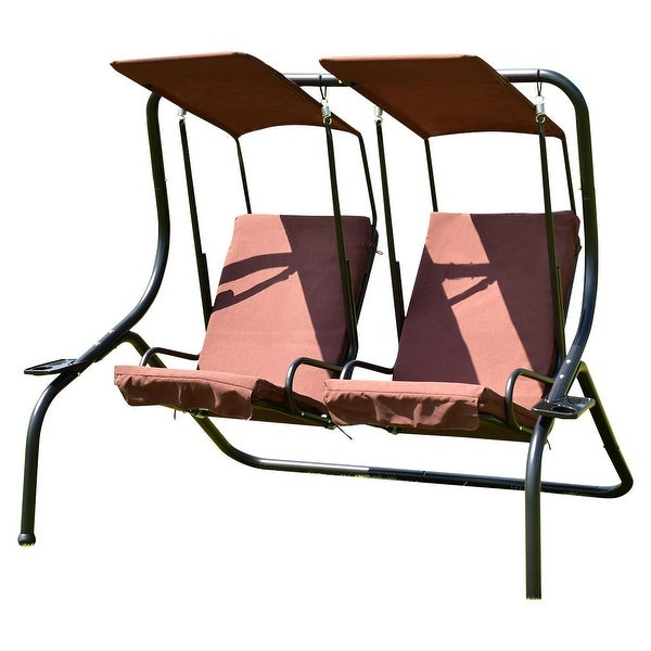 Costway 2 Person Swing Chair Porch Padded Loveseat Hammock Canopy Coffee