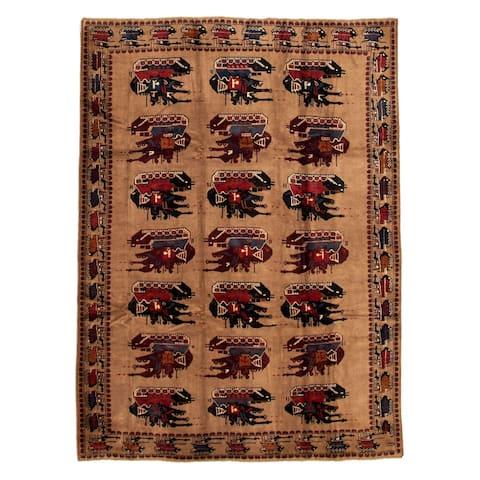 ECARPETGALLERY Hand-knotted Rare War Tan Wool Rug - 7'2 x 9'9