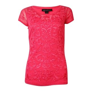 INC International Concepts Women's Embroidered Paisley Top - polished coral