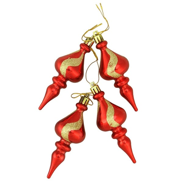"""4ct Shiny Red with Gold Glitter Shatterproof Christmas Finial Ornaments 4.5"""""""