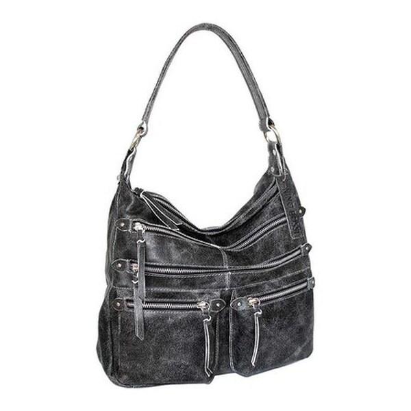 Nino Bossi Women X27 S Heather Leather Hobo Handbag Black White Us