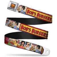 Hamburger Full Color Black Bob's Burgers Belcher Family Group Pose6 Food Seatbelt Belt