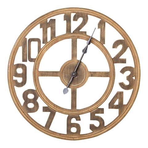 Stratton Home Decor 23 Inch Jen Wood Wall Clock - 23.62 X 1.77 X 23.62