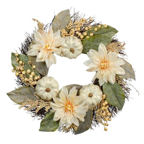 Dahlia and Pumpkin Artificial Floral Wreath, White 22-Inch