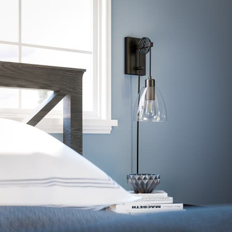 Humble 1-Light Wall-Mounted Lamp with Pully System
