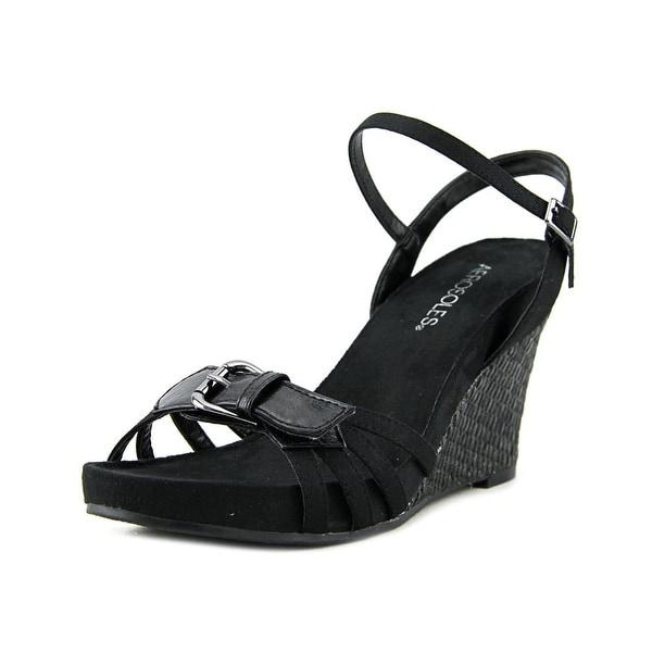 Aerosoles Plush Around Women Open Toe Canvas Black Wedge Sandal