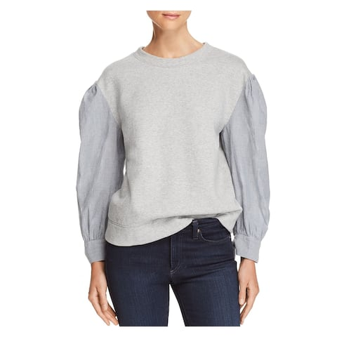 REBECCA TAYLOR Womens Gray Mixed Media Long Sleeve Crew Neck Sweater Size: L