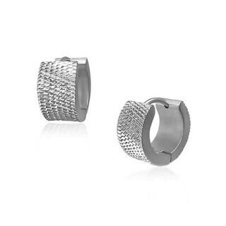 Bling Jewelry Stainless Steel Grid Pattern Small Hoop Hoop Earrings