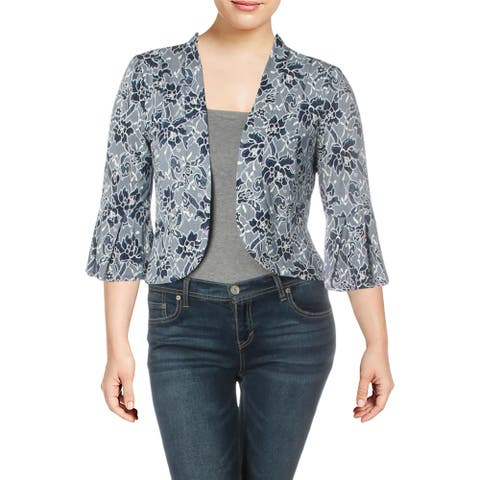 Jessica Howard Womens Petites Jacket Knit Embroidered - Navy/White
