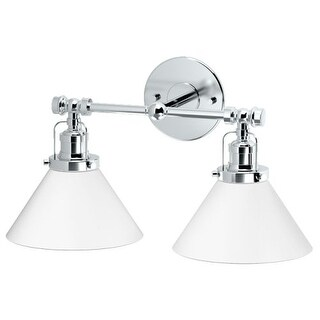"""Gatco 1613 Caf? Double Light Bathroom Sconce with Glass Shade - 16"""" Wide"""