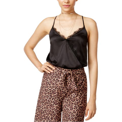 Material Girl Womens Lace Trim Bodysuit Jumpsuit, black, X-Large