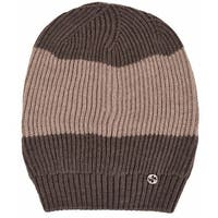 974bc138e5d15 Gucci 310777 Men s Wool Brown Beige Interlocking GG Slouchy Beanie Hat -  One Size Fits most