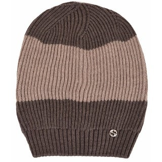 Gucci 310777 Men's Wool Brown Beige Interlocking GG Slouchy Beanie Hat - One Size Fits most