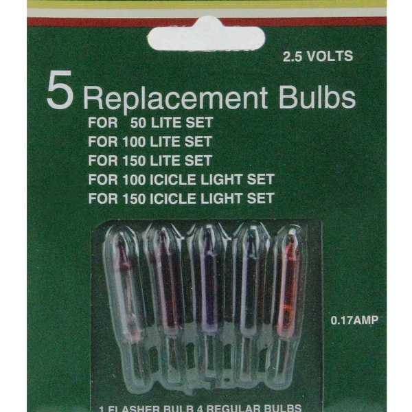 Pack of 5 Multi-Color Mini Christmas Replacement Bulbs - 2.5 Volts