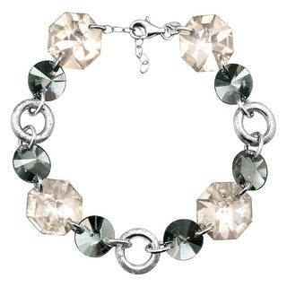 Crystaluxe Link Bracelet with Smokey Swarovski Elements Crystals in Sterling Silver - White
