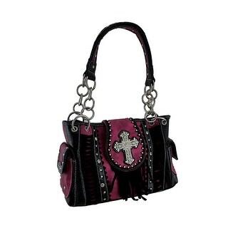 Fringed Rhinestone Cross Western Style Concealed Carry Handbag