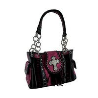 Fringed Rhinestone Cross Western Style Concealed Carry Handbag