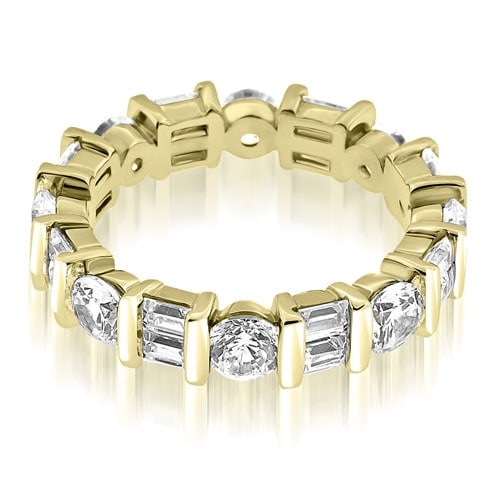 2.25 cttw. 14K Yellow Gold Modern Bar Set Round Baguette Diamond Eternity Ring