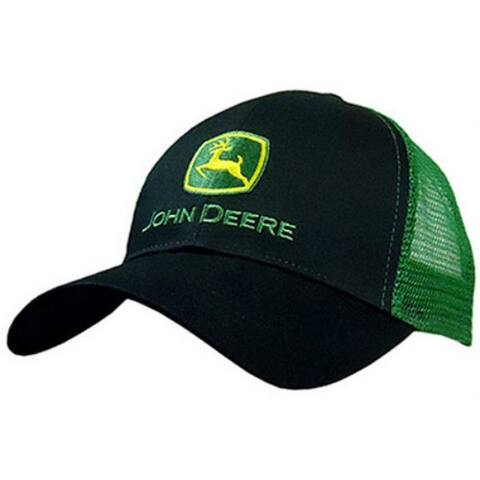 John Deere 13080277BK00 Mesh Back 6 Panel Cap, One Size, Black & Green
