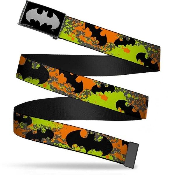 Batman Reverse Brushed Silver Cam Bat Signals Gray Orange Yellow Black Web Belt