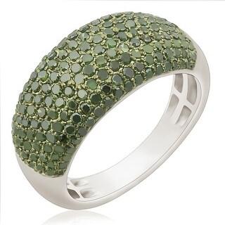 Brand New 1.02 Carat Round Brilliant Cut Green Color Diamond Wedding Band