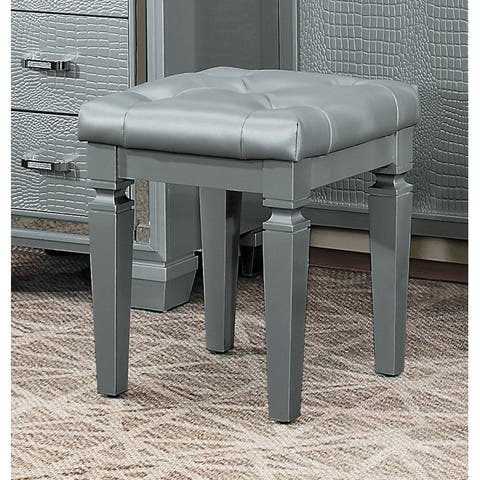 Wooden Vanity Stool With Faux Leather Tufted Seat, Gray